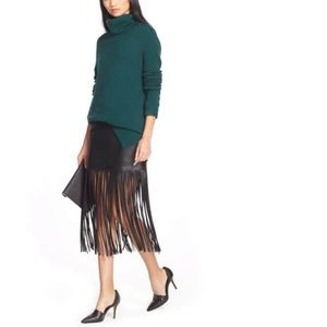 Trouve faux leather black fringed skirt size 8